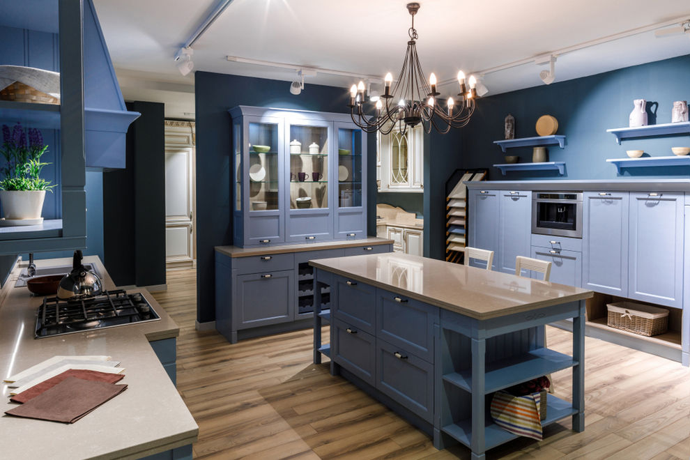 Kitchen remodel in Oceanside with blue tones