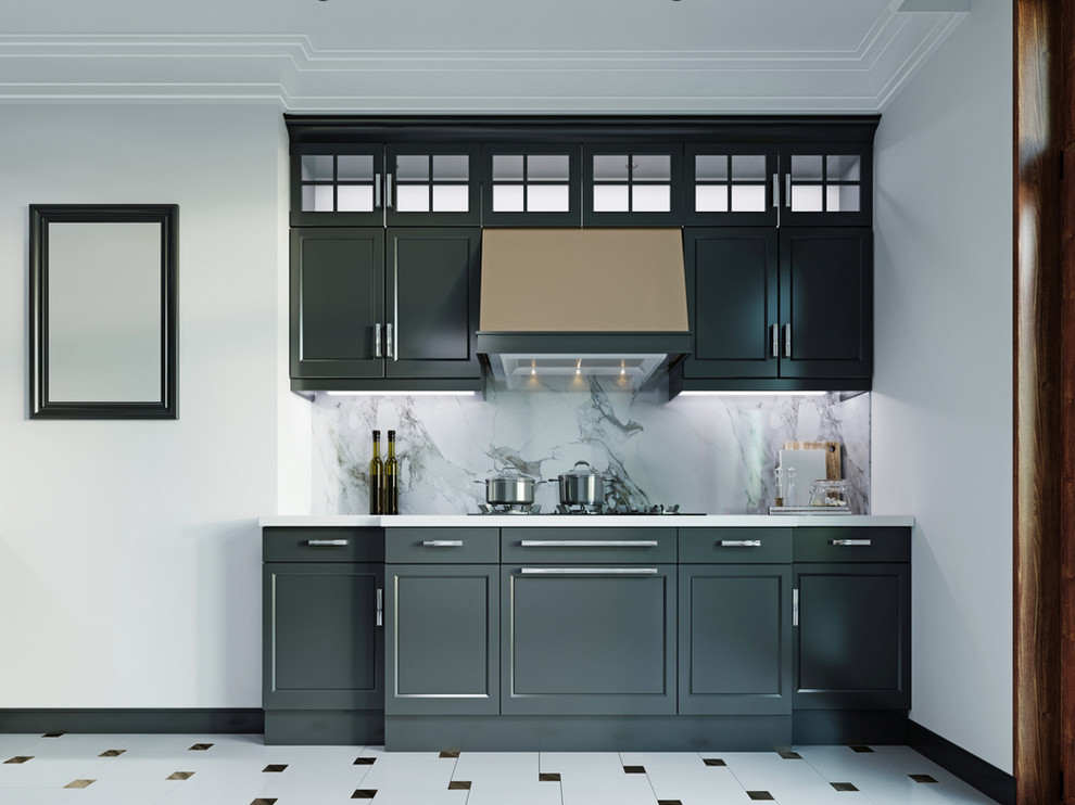 Small kitchen with black cabinets