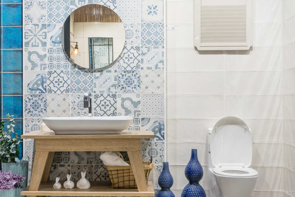 Bathroom with graphic tiles