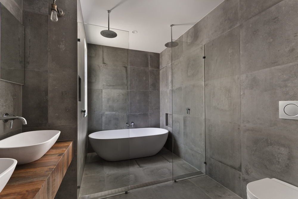 Bathroom with large tiles (The Top Bathroom Tile Trends for 2021)